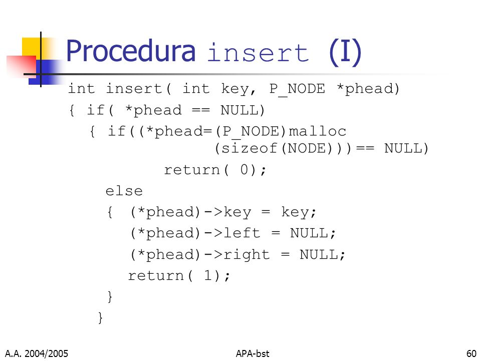 Procedura insert (I) int insert( int key, P_NODE *phead)