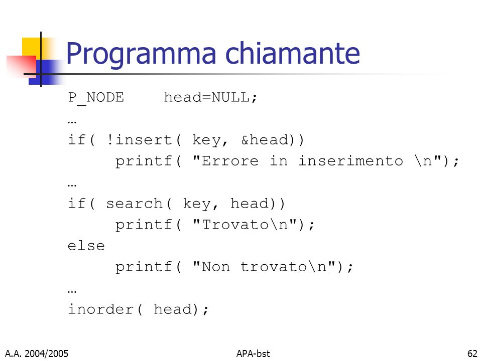 Programma chiamante P_NODE head=NULL; … if( !insert( key, &head))