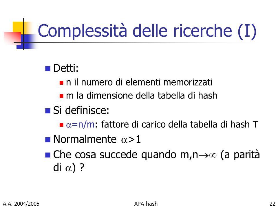 Complessità delle ricerche (I)