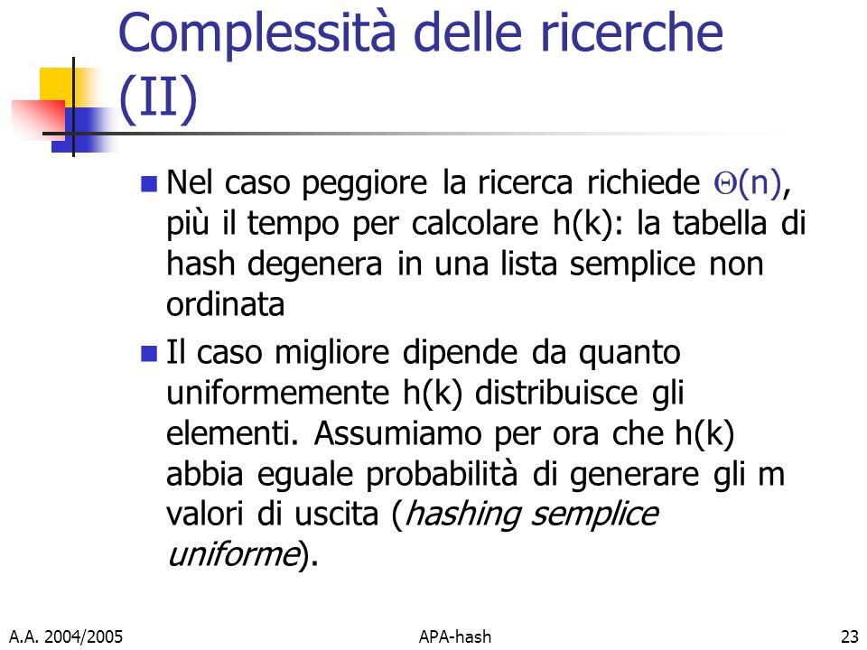 Complessità delle ricerche (II)