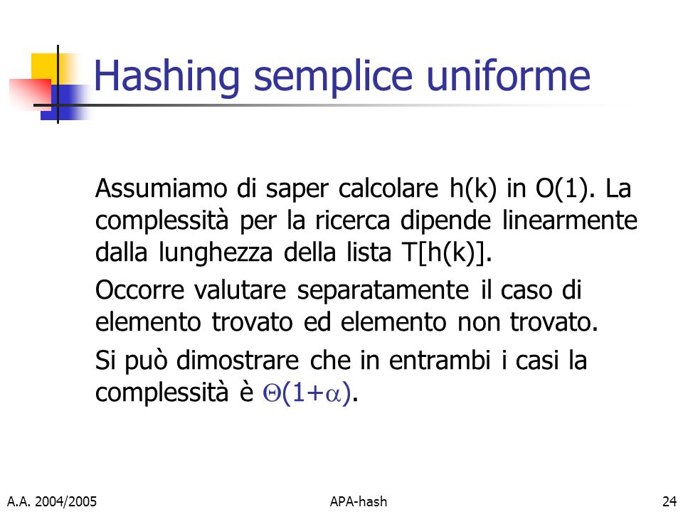 Hashing semplice uniforme