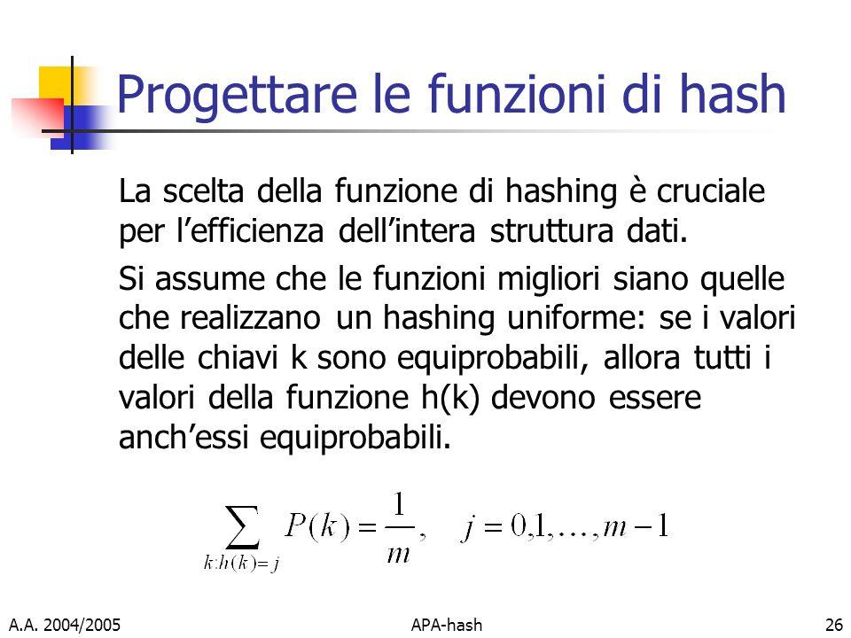 Progettare le funzioni di hash