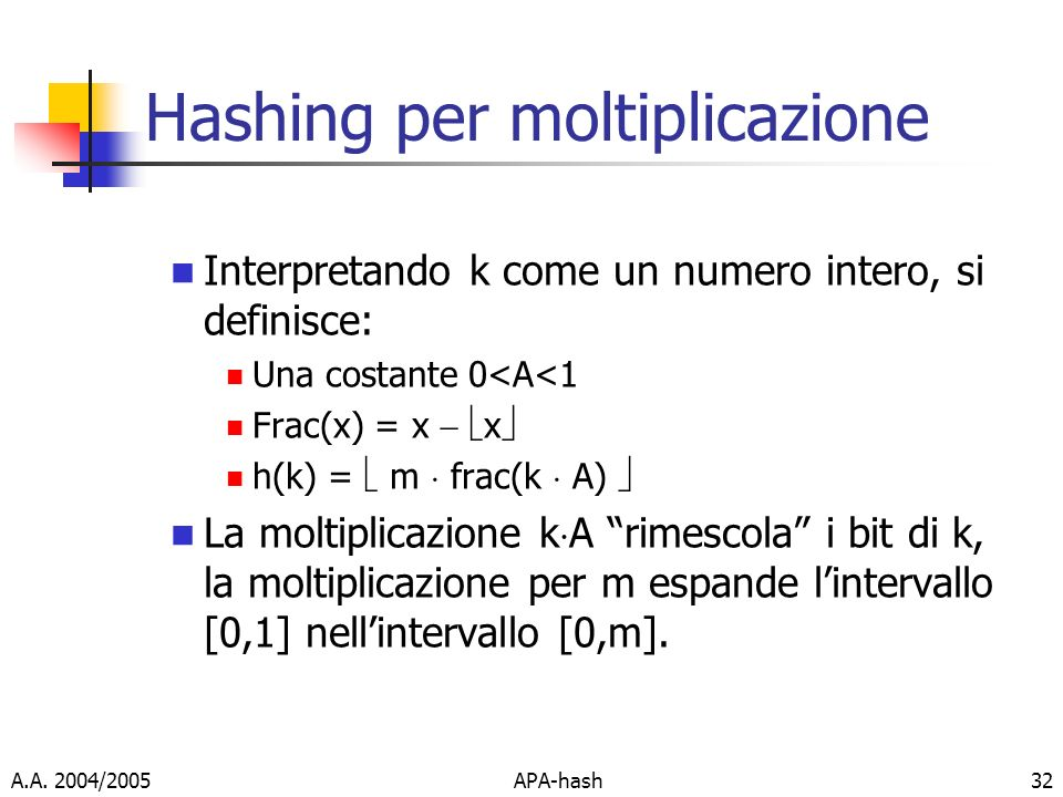 Hashing per moltiplicazione