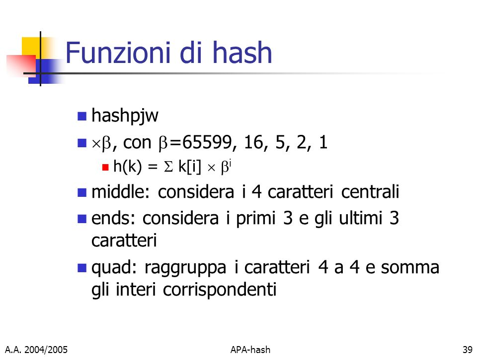 Funzioni di hash hashpjw , con =65599, 16, 5, 2, 1