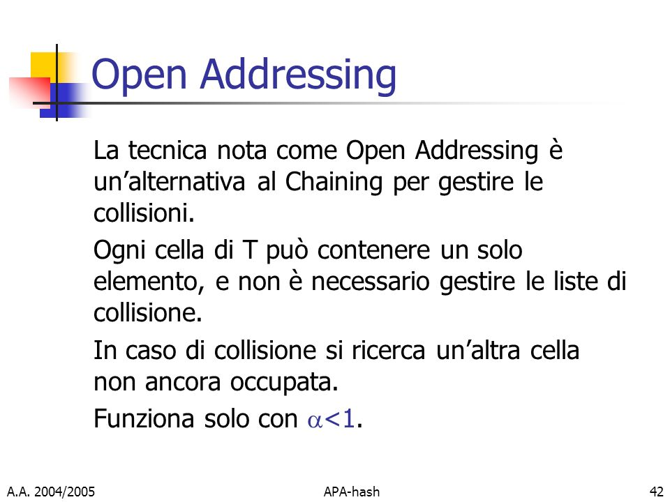 Open Addressing La tecnica nota come Open Addressing è un'alternativa al Chaining per gestire le collisioni.