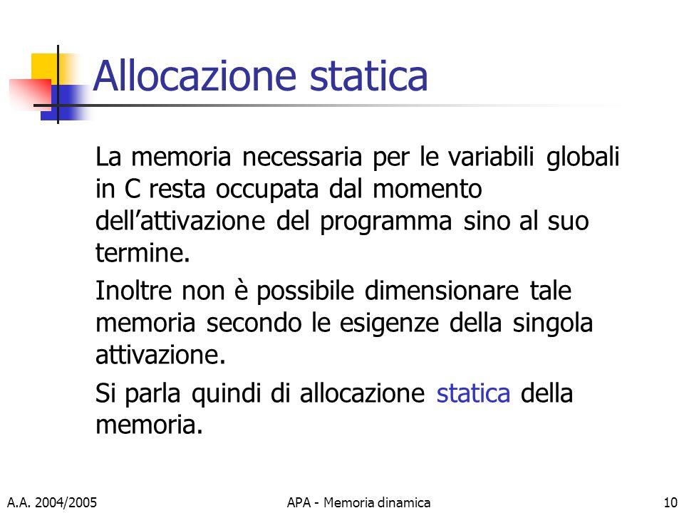 Allocazione statica