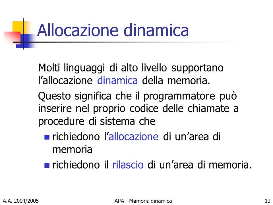 Allocazione dinamica Molti linguaggi di alto livello supportano l'allocazione dinamica della memoria.