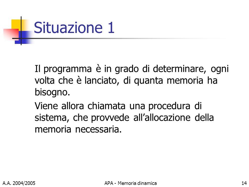 Situazione 1 Il programma è in grado di determinare, ogni volta che è lanciato, di quanta memoria ha bisogno.