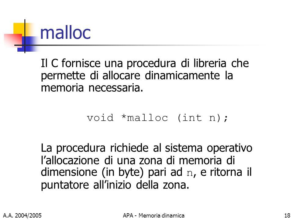 malloc Il C fornisce una procedura di libreria che permette di allocare dinamicamente la memoria necessaria.
