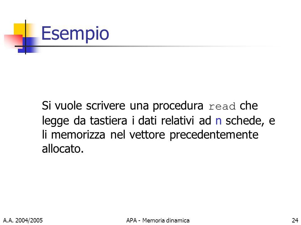 Esempio Si vuole scrivere una procedura read che legge da tastiera i dati relativi ad n schede, e li memorizza nel vettore precedentemente allocato.