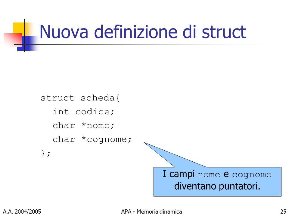 Nuova definizione di struct