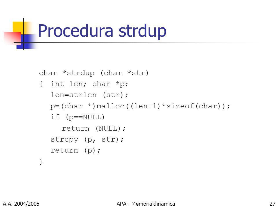 Procedura strdup char *strdup (char *str) { int len; char *p;
