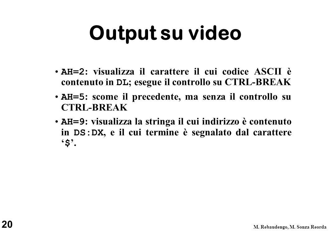 Output su video AH=2: visualizza il carattere il cui codice ASCII è contenuto in DL; esegue il controllo su CTRL-BREAK.