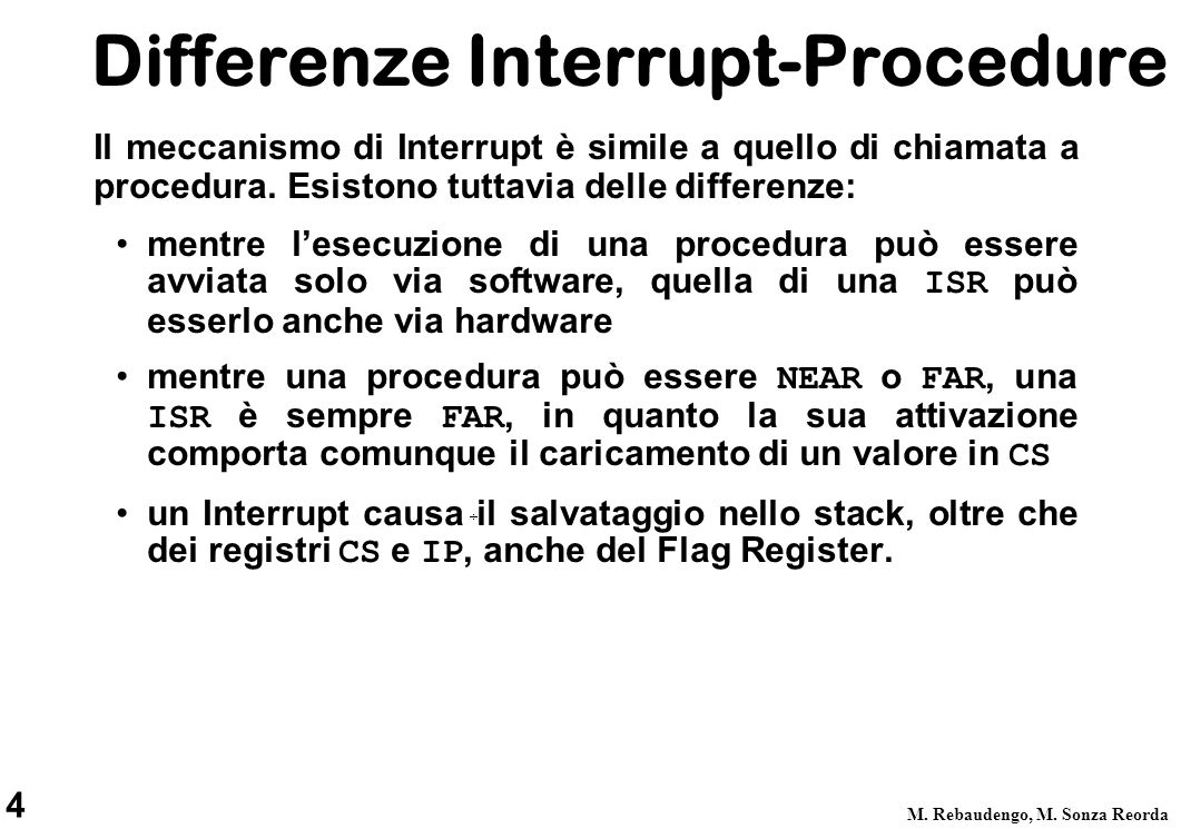 Differenze Interrupt-Procedure