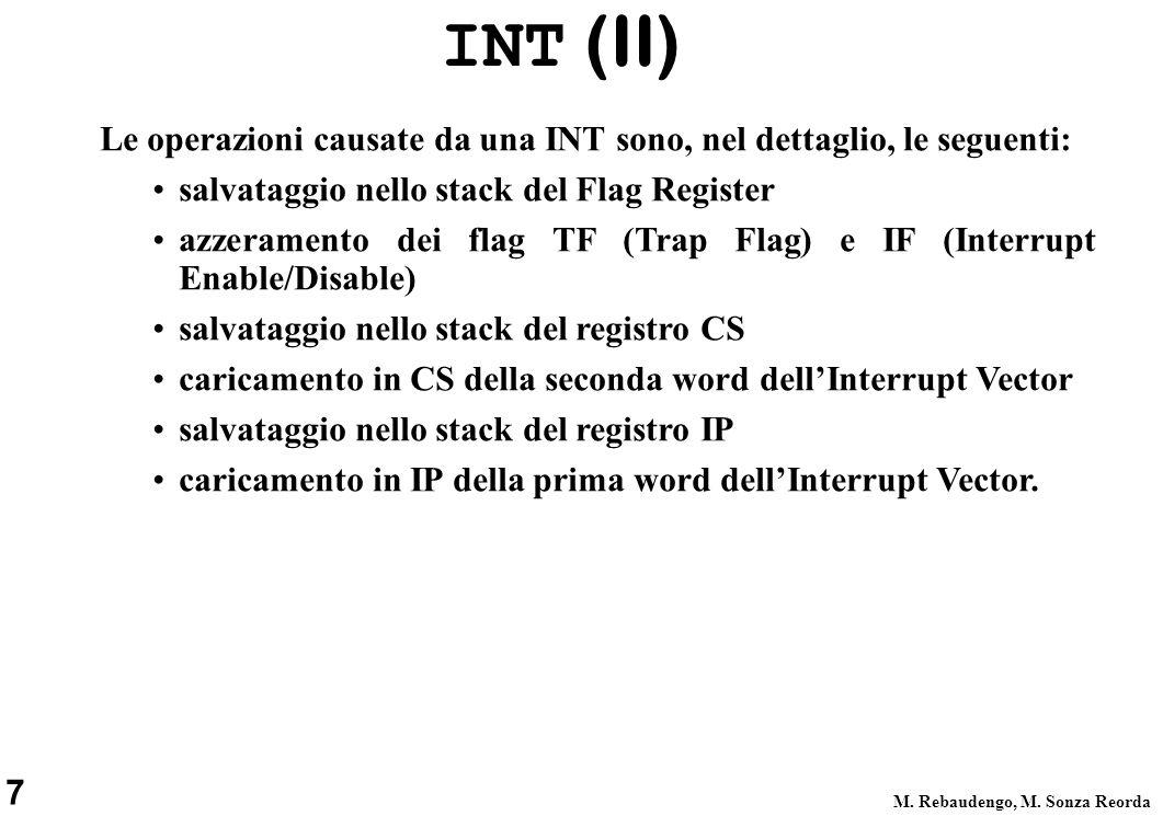 INT (II) Le operazioni causate da una INT sono, nel dettaglio, le seguenti: salvataggio nello stack del Flag Register.