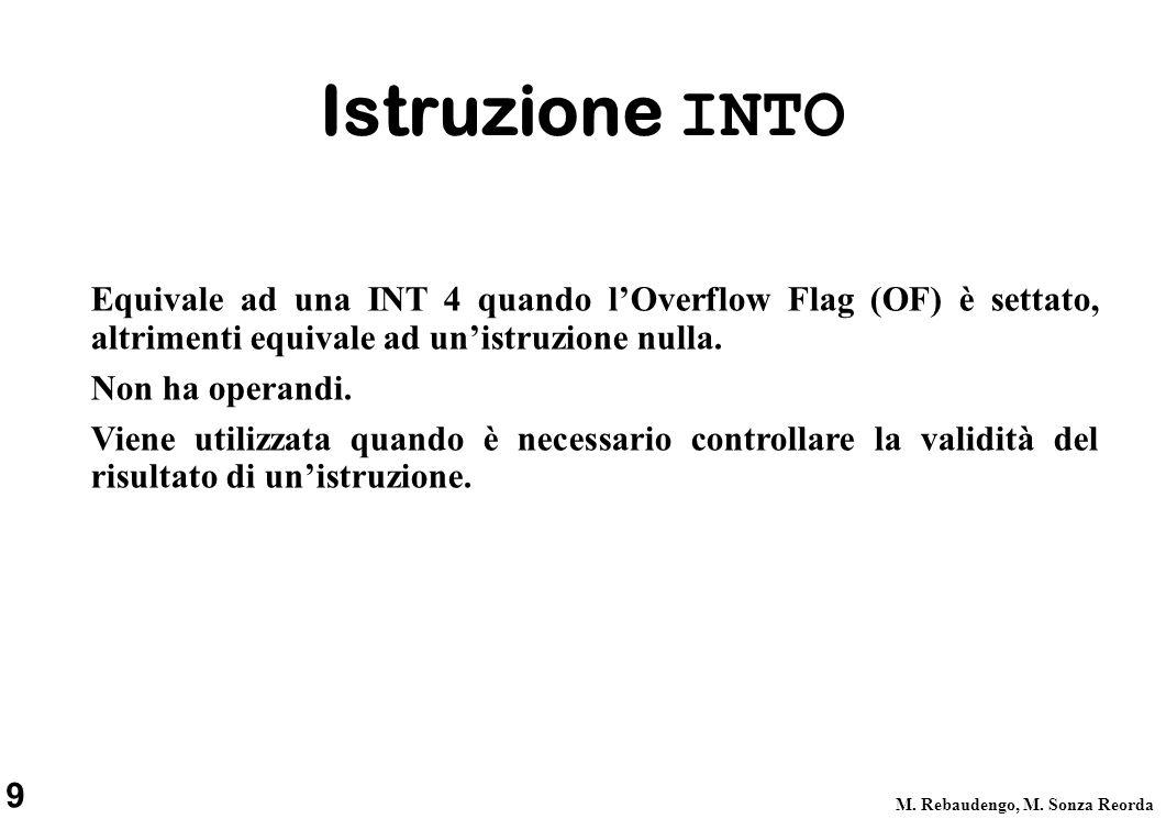Istruzione INTO Equivale ad una INT 4 quando l'Overflow Flag (OF) è settato, altrimenti equivale ad un'istruzione nulla.