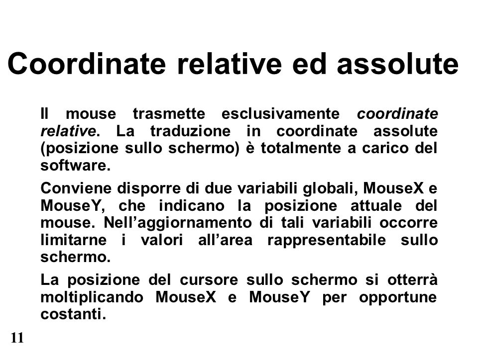 Coordinate relative ed assolute