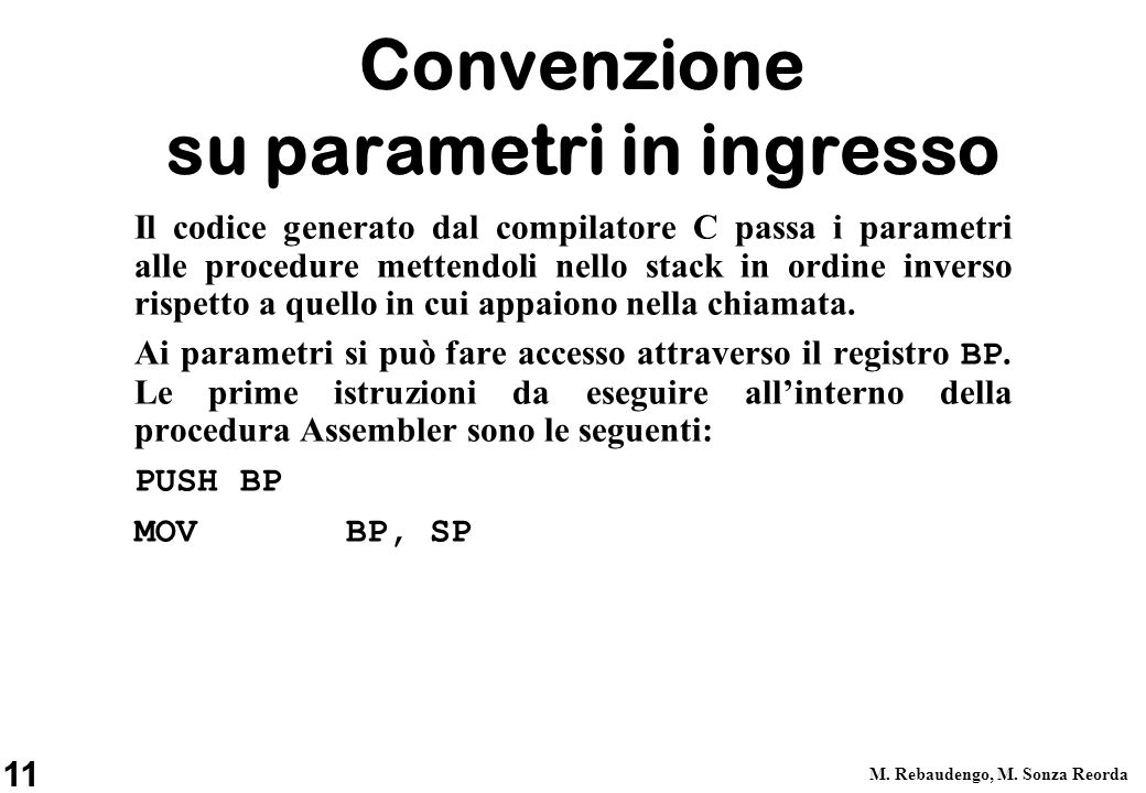 Convenzione su parametri in ingresso
