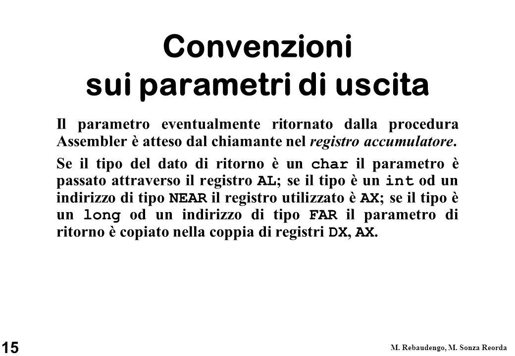 Convenzioni sui parametri di uscita