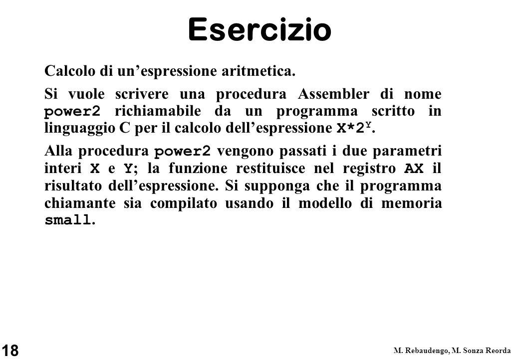 Esercizio Calcolo di un'espressione aritmetica.