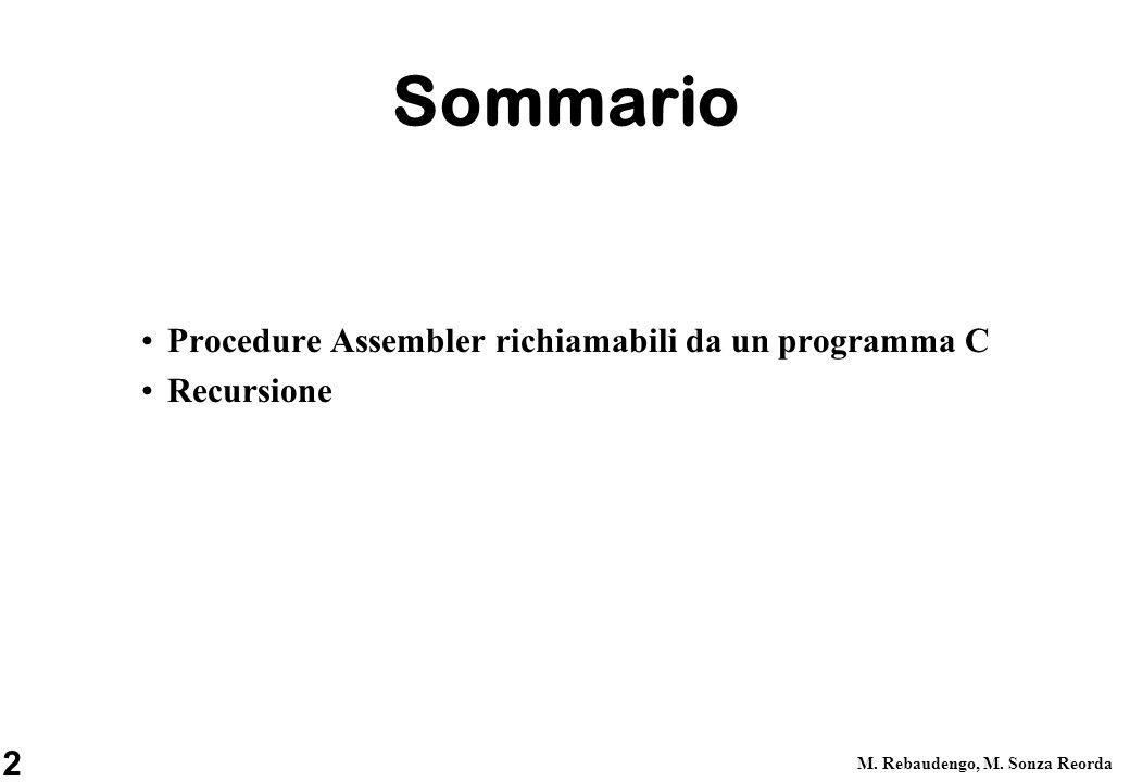 Sommario Procedure Assembler richiamabili da un programma C Recursione