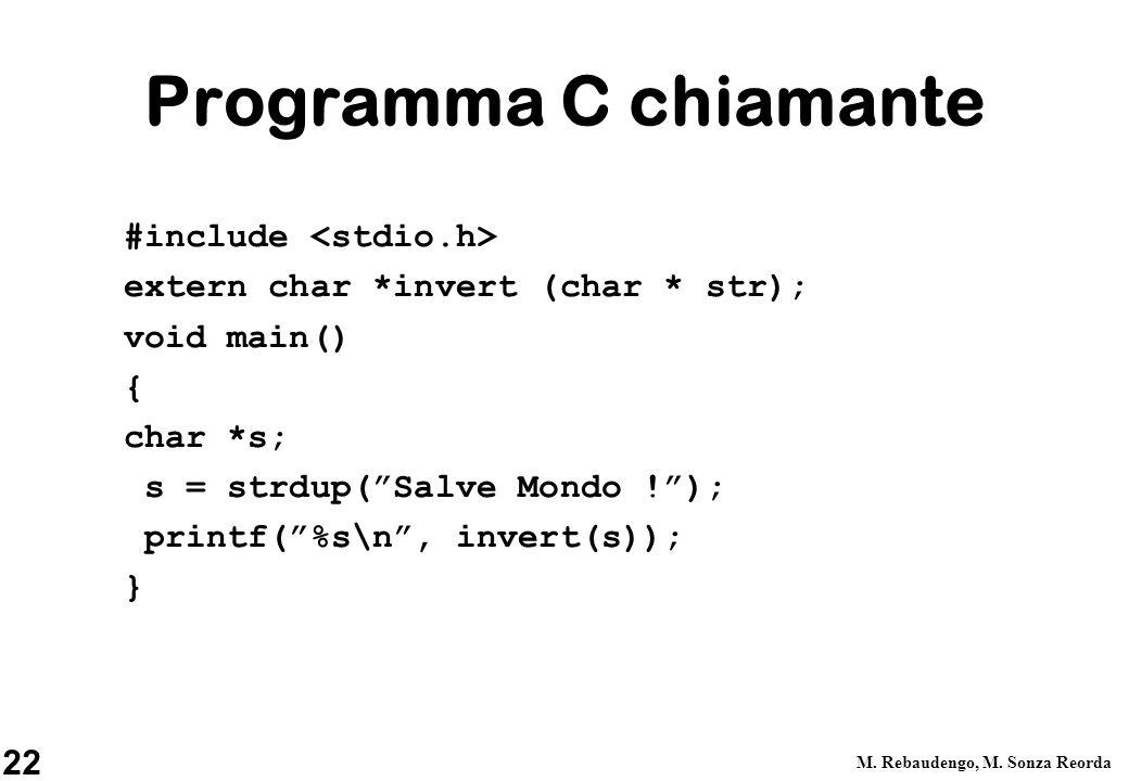 Programma C chiamante #include <stdio.h>