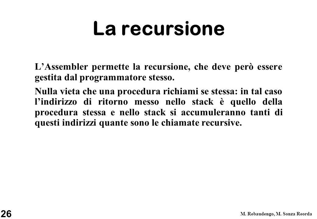 La recursione L'Assembler permette la recursione, che deve però essere gestita dal programmatore stesso.