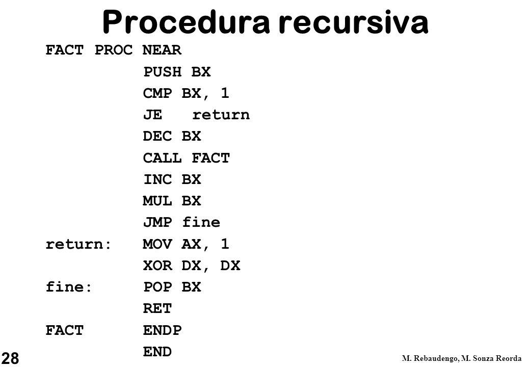 Procedura recursiva FACT PROC NEAR PUSH BX CMP BX, 1 JE return DEC BX