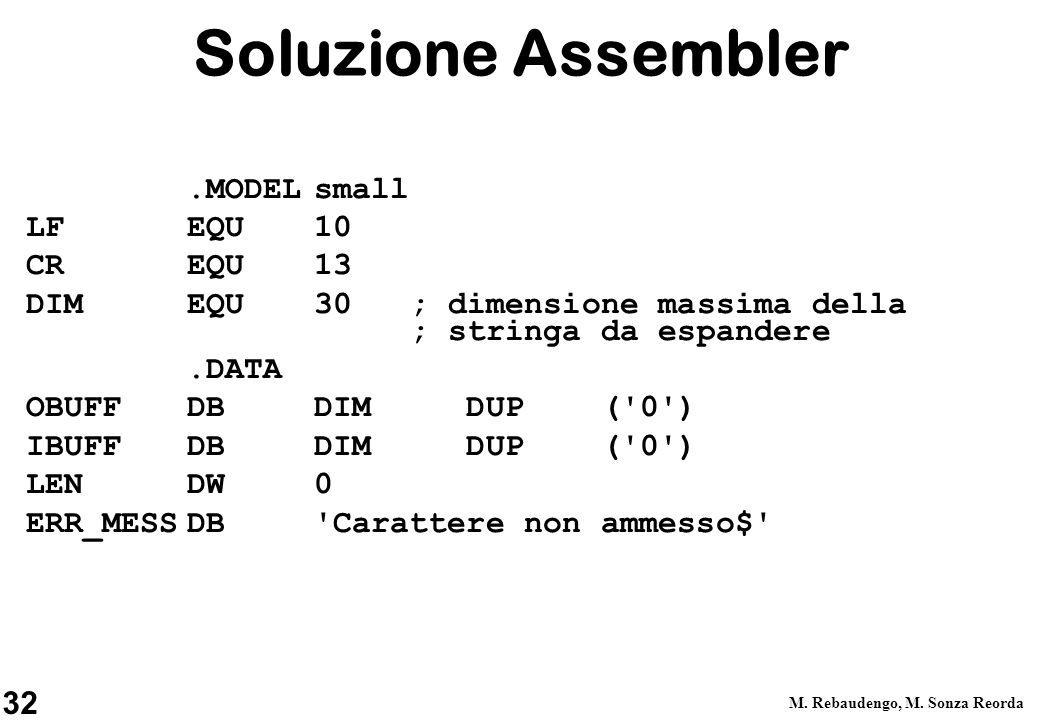 Soluzione Assembler .MODEL small LF EQU 10 CR EQU 13