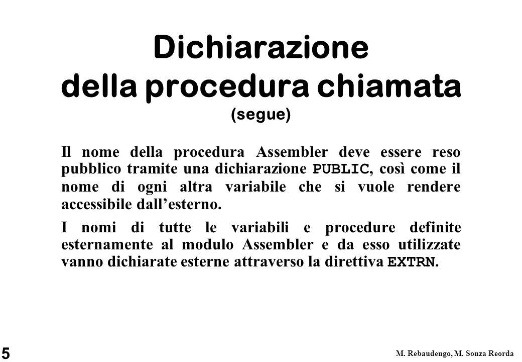 Dichiarazione della procedura chiamata (segue)