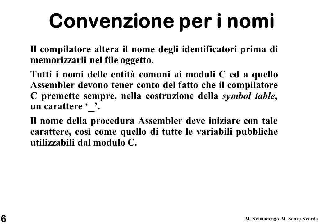 Convenzione per i nomi Il compilatore altera il nome degli identificatori prima di memorizzarli nel file oggetto.