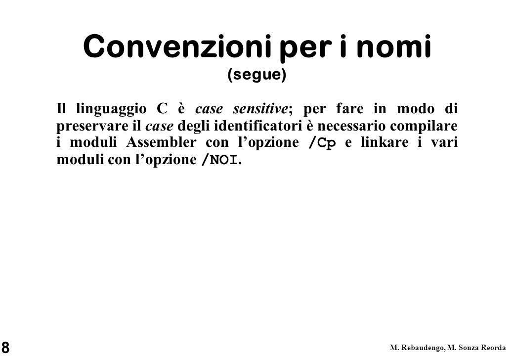 Convenzioni per i nomi (segue)