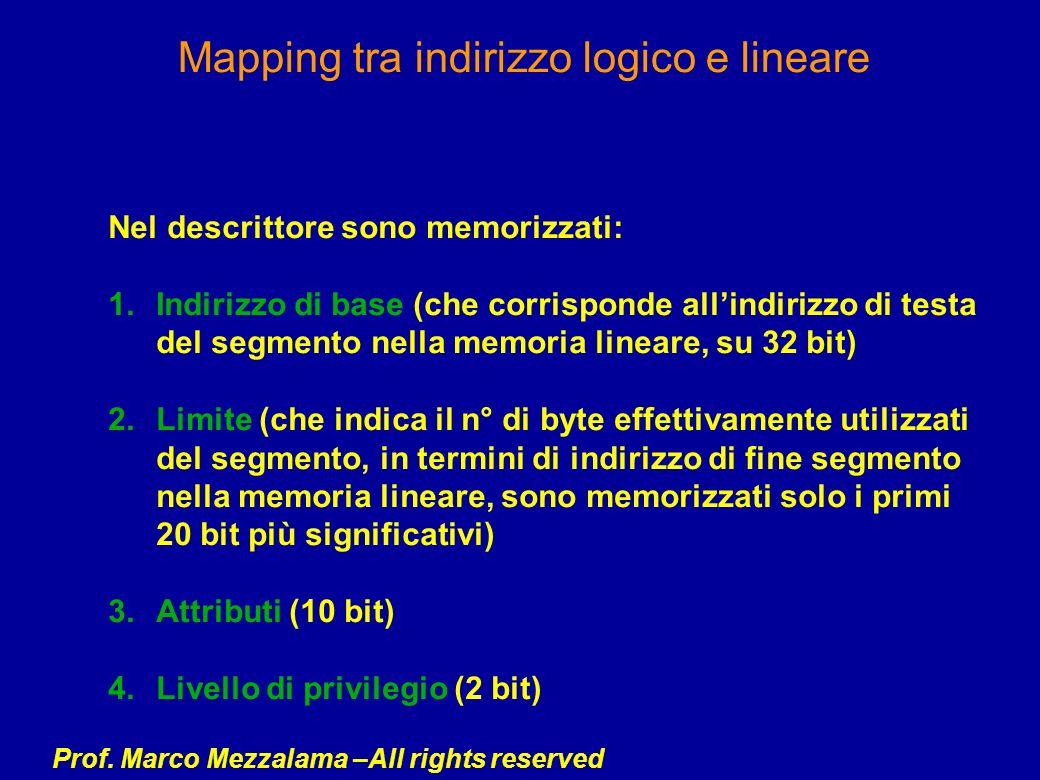 Mapping tra indirizzo logico e lineare