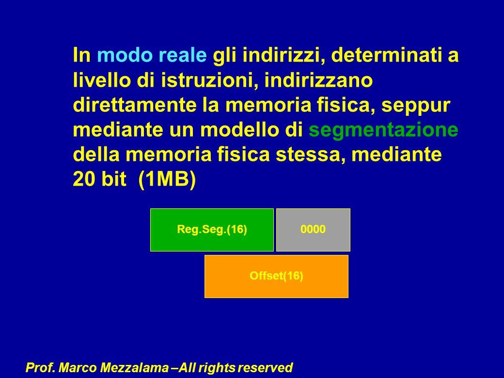 In modo reale gli indirizzi, determinati a livello di istruzioni, indirizzano direttamente la memoria fisica, seppur mediante un modello di segmentazione della memoria fisica stessa, mediante 20 bit (1MB)