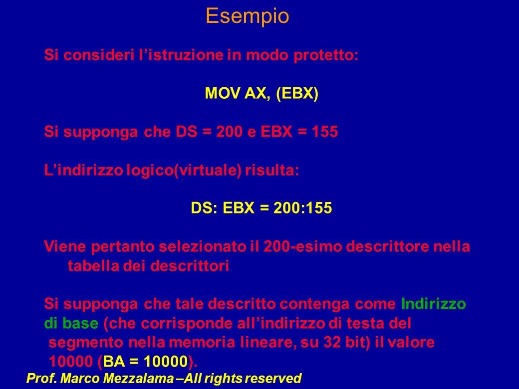 Esempio Si consideri l'istruzione in modo protetto: MOV AX, (EBX)