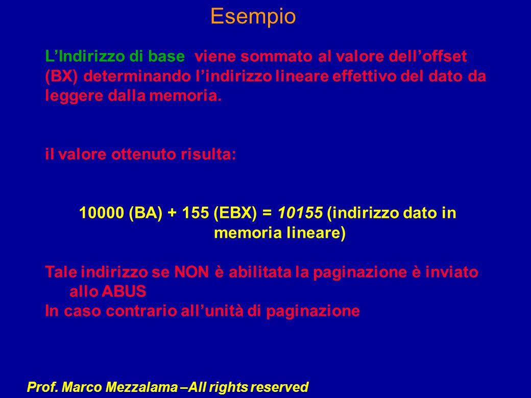 10000 (BA) + 155 (EBX) = 10155 (indirizzo dato in memoria lineare)
