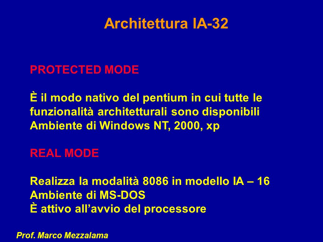 Architettura IA-32 PROTECTED MODE