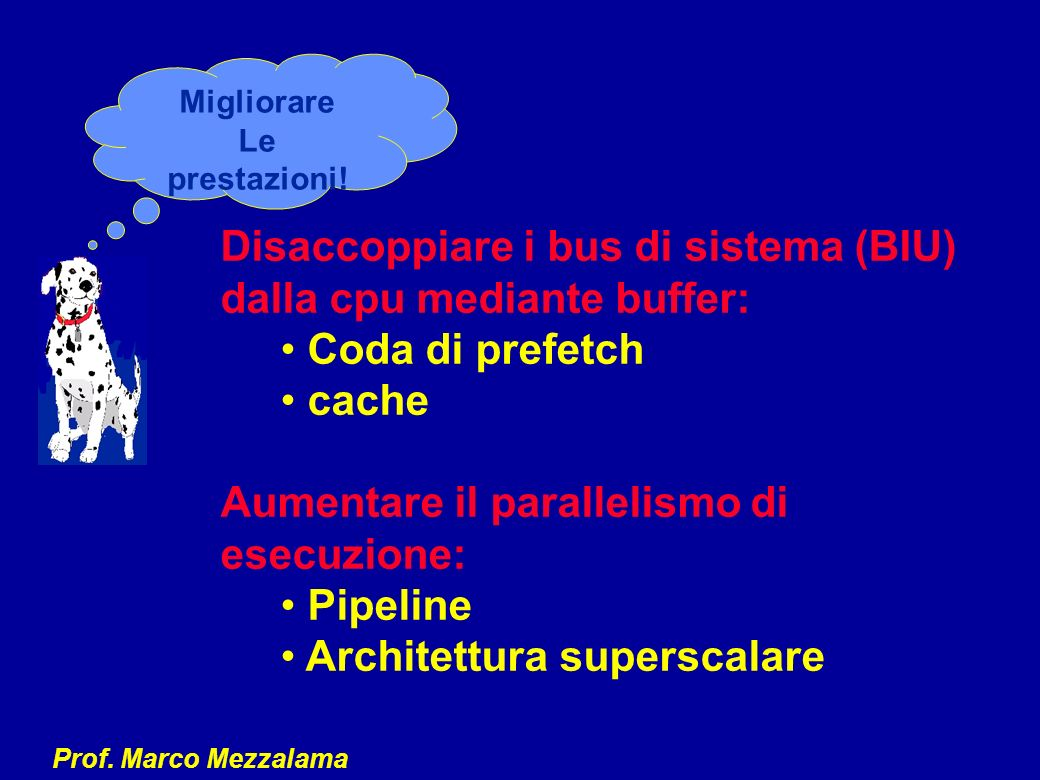Disaccoppiare i bus di sistema (BIU) dalla cpu mediante buffer:
