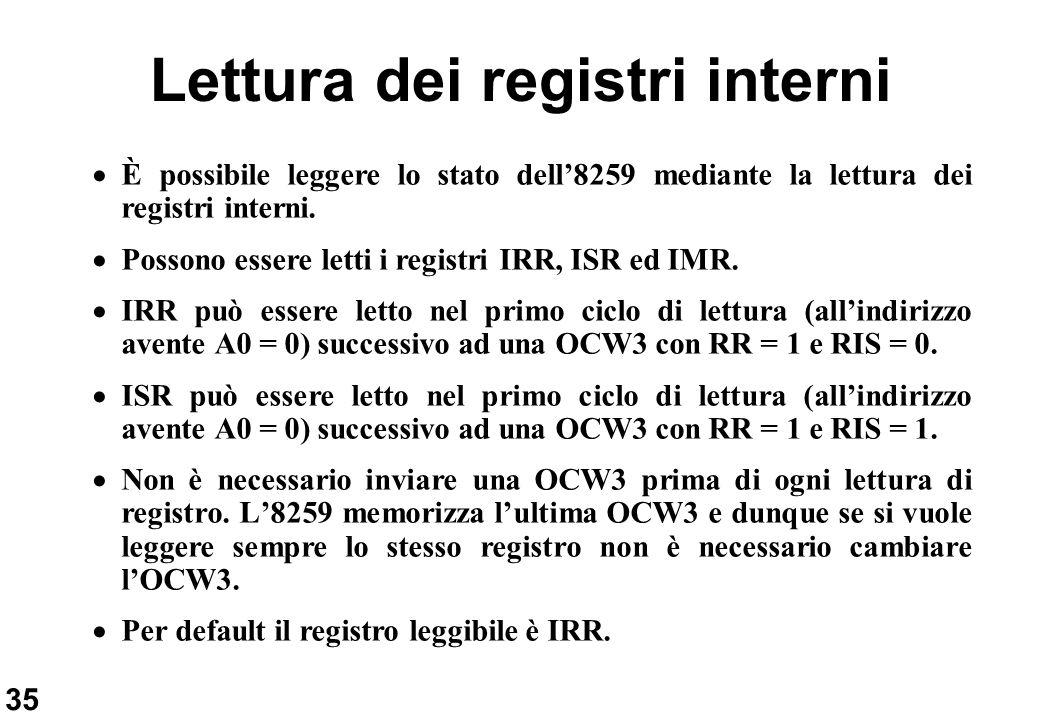 Lettura dei registri interni