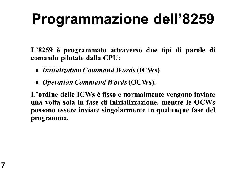 Programmazione dell'8259 L'8259 è programmato attraverso due tipi di parole di comando pilotate dalla CPU: