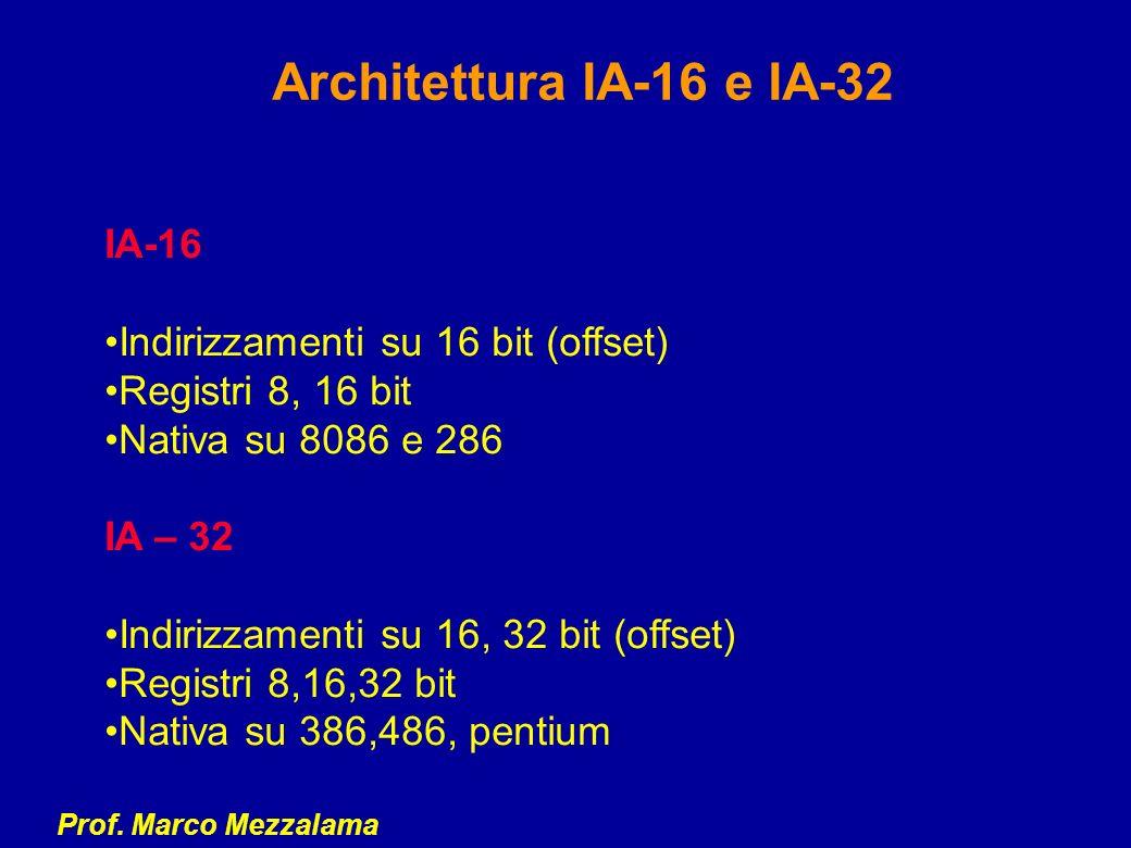 Architettura IA-16 e IA-32 IA-16 Indirizzamenti su 16 bit (offset)