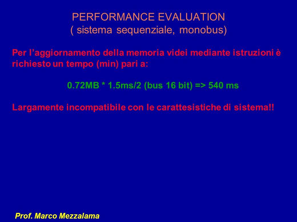 PERFORMANCE EVALUATION ( sistema sequenziale, monobus)