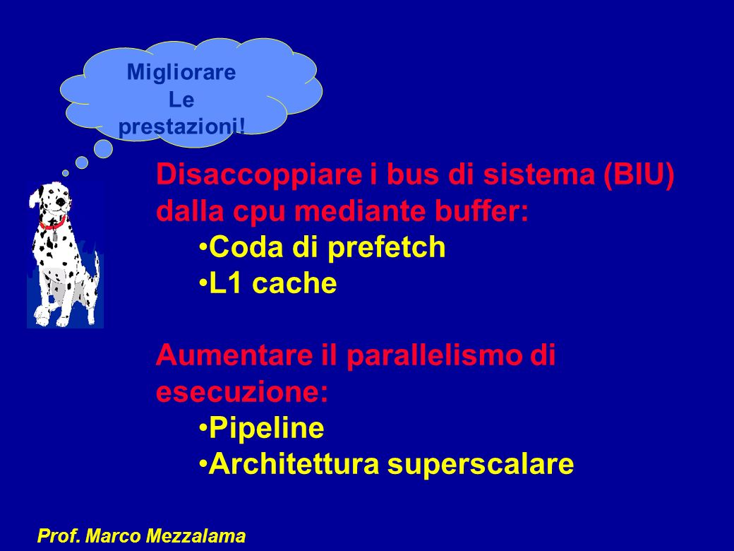 Disaccoppiare i bus di sistema (BIU) dalla cpu mediante buffer: