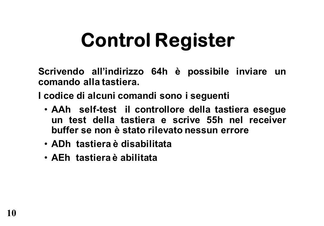 Control Register Scrivendo all'indirizzo 64h è possibile inviare un comando alla tastiera. I codice di alcuni comandi sono i seguenti.