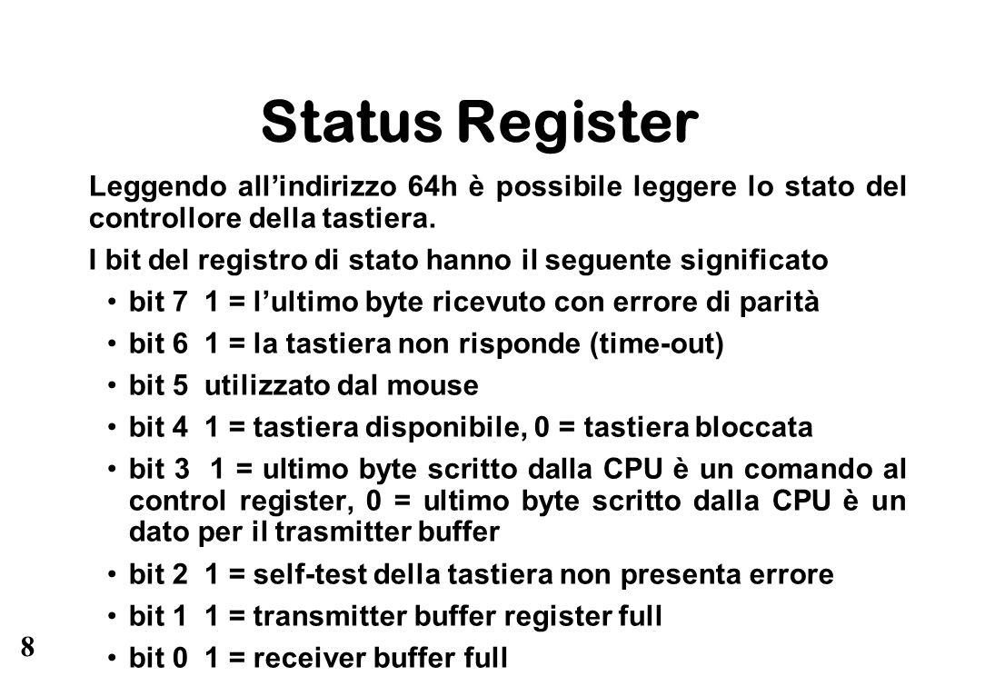 Status Register Leggendo all'indirizzo 64h è possibile leggere lo stato del controllore della tastiera.