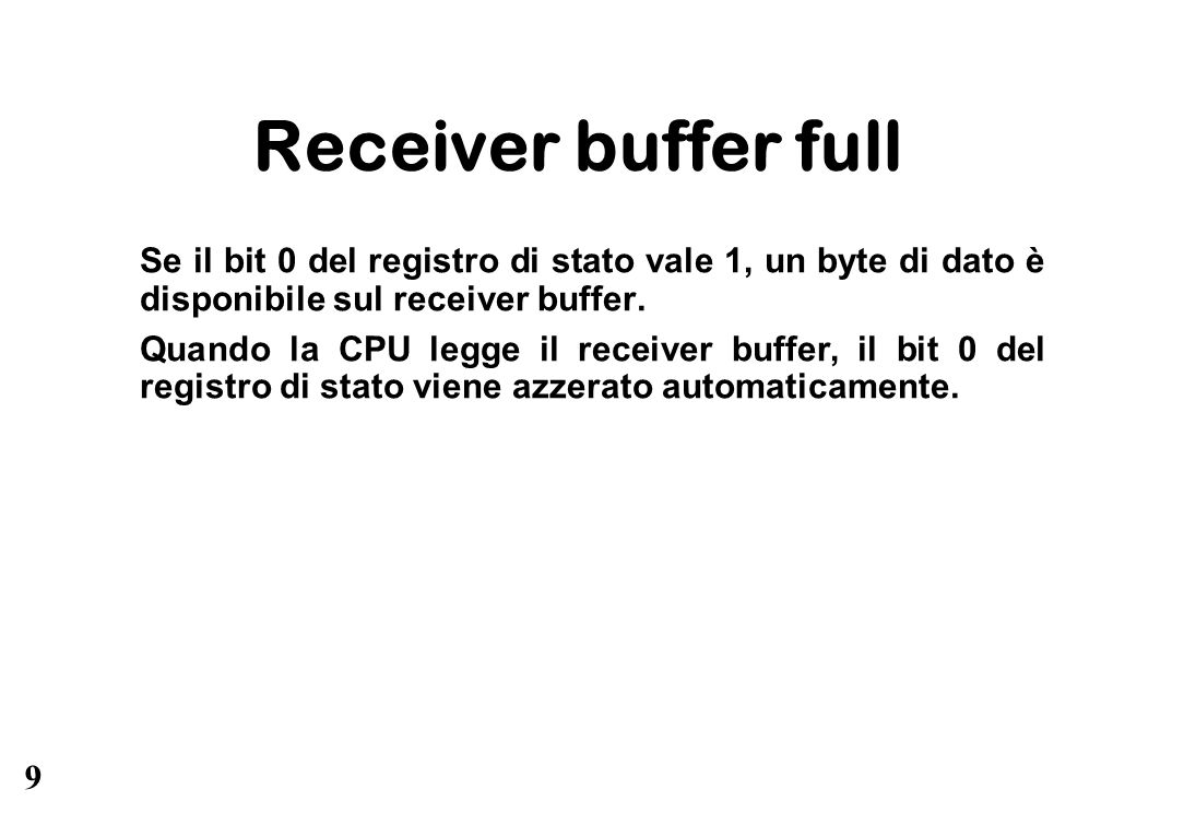 Receiver buffer full Se il bit 0 del registro di stato vale 1, un byte di dato è disponibile sul receiver buffer.