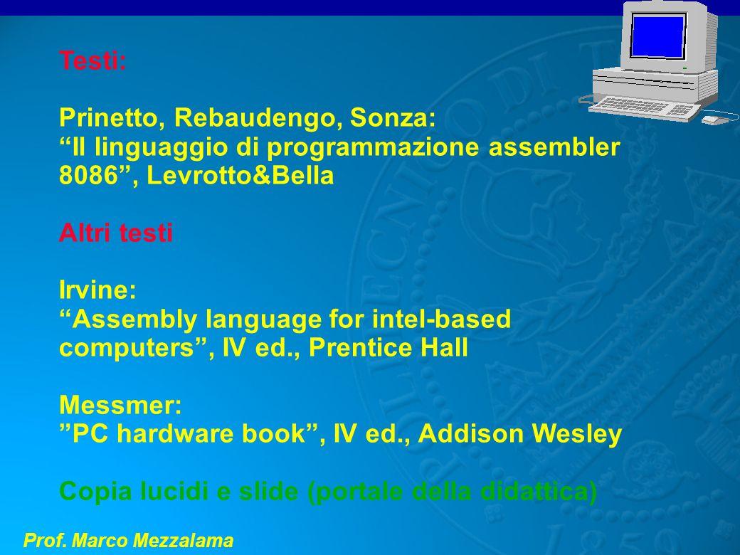 Testi:Prinetto, Rebaudengo, Sonza: Il linguaggio di programmazione assembler 8086 , Levrotto&Bella.