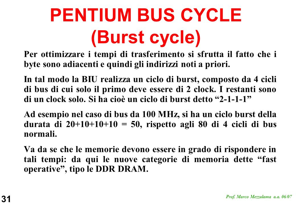 PENTIUM BUS CYCLE (Burst cycle)