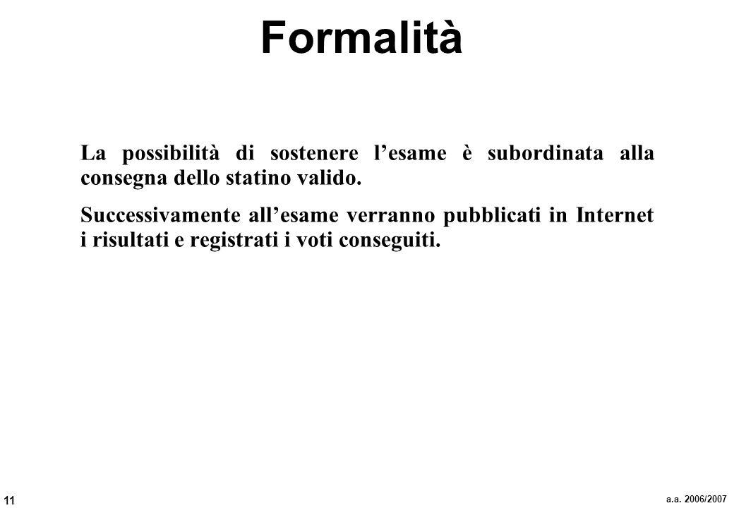 Formalità La possibilità di sostenere l'esame è subordinata alla consegna dello statino valido.