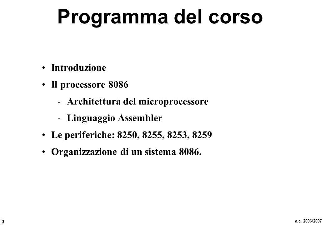 Programma del corso Introduzione Il processore 8086
